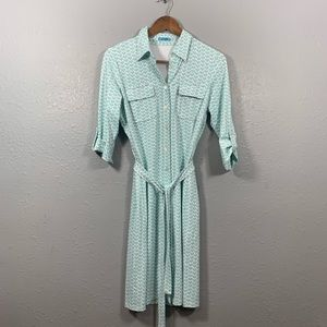 J McLAUGHLIN Blue Heart Shirt Dress Size Small